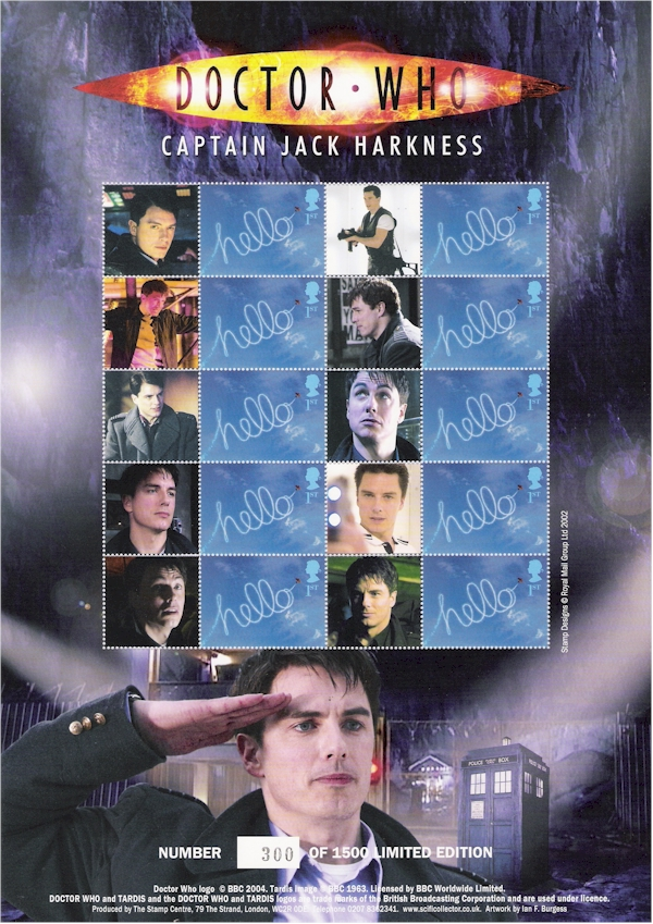 Captain Jack Stamp Sheet Unsigned