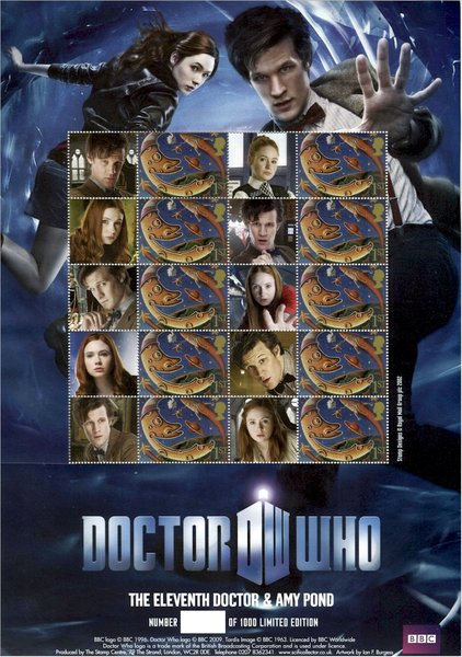 The 11th Doctor Who and Amy Pond Stamp Sheet